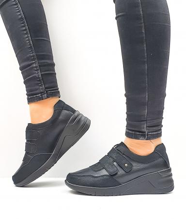 Pantofi Casual Dama Piele Naturala Negri Coorah D026430