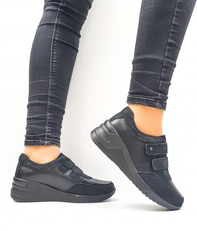 Pantofi Casual Dama Piele Naturala Negri Coorah D026431