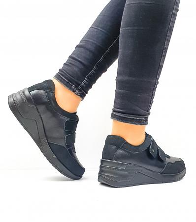 Pantofi Casual Dama Piele Naturala Negri Coorah D026433