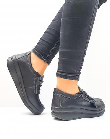 Pantofi Casual Dama Piele Naturala Negri Epifania D026450