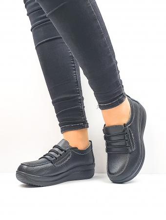 Pantofi Casual Dama Piele Naturala Negri Epifania D026453