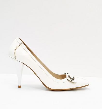 Pantofi cu toc Piele Naturala Albi Luxia D026640