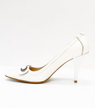 Pantofi cu toc Piele Naturala Albi Luxia D026641