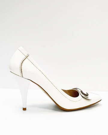 Pantofi cu toc Piele Naturala Albi Luxia D026643