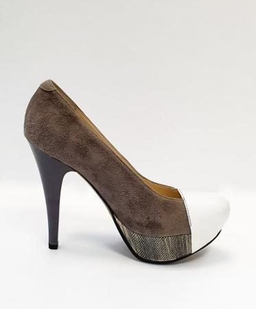 Pantofi cu toc Piele Naturala Gri Anelisse D026750