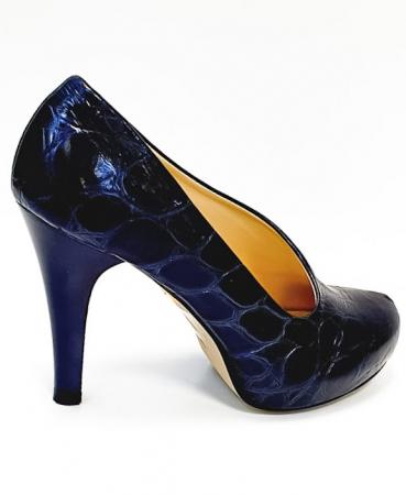Pantofi cu toc Piele Naturala Albastri Sia D026764