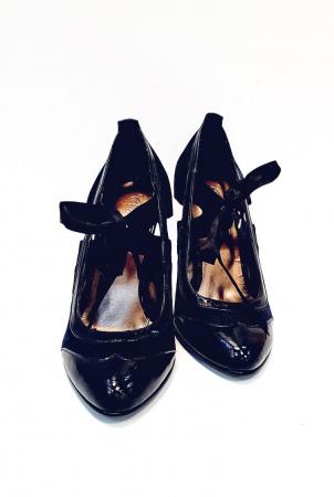 Pantofi cu toc Piele Naturala Albastri Anne D026775