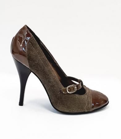 Pantofi cu toc Piele Naturala Corvaris Gri Licia D026780