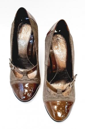 Pantofi cu toc Piele Naturala Corvaris Gri Licia D026784