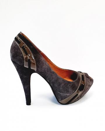 Pantofi cu toc Piele Naturala Corvaris Gri Rupa D026823