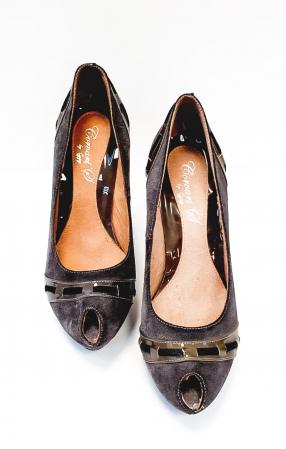 Pantofi cu toc Piele Naturala Corvaris Gri Rupa D026824