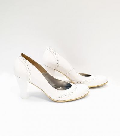 Pantofi cu toc Piele Naturala Albi Ica D026834