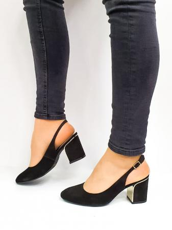 Pantofi Dama Piele Naturala Epica Negri Ena D026691