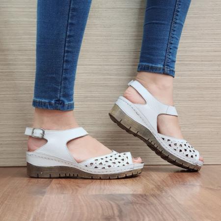 Sandale Dama Piele Naturala Albe Xenia D024400