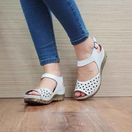 Sandale Dama Piele Naturala Albe Xenia D024402