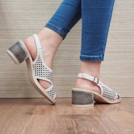 Sandale Dama Piele Naturala Bej Alexandra D024353