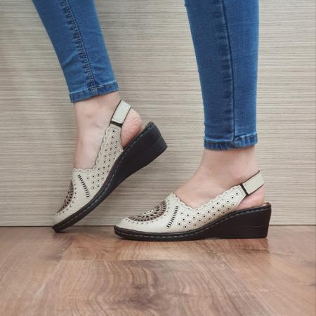 Sandale Dama Piele Naturala Bej Cristina D024601