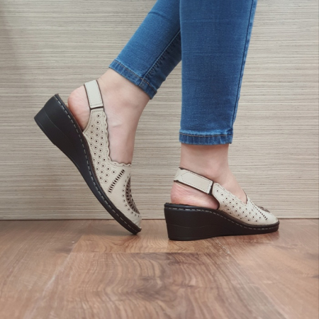 Sandale Dama Piele Naturala Bej Cristina D024603