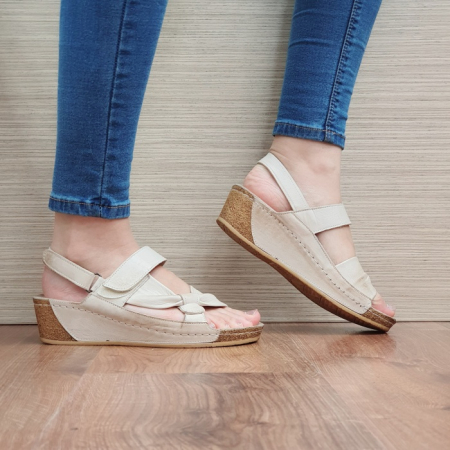Sandale Dama Piele Naturala Bej Kiara D024410
