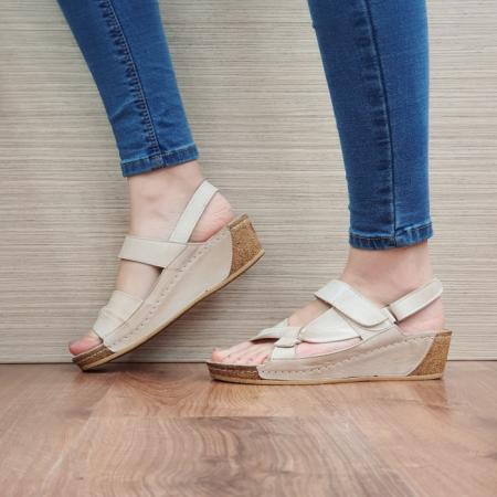 Sandale Dama Piele Naturala Bej Kiara D024411
