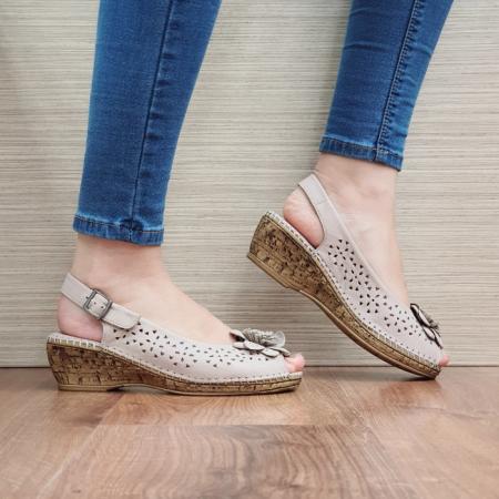 Sandale Dama Piele Naturala Bej Natasha D02442 [0]