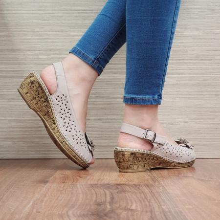 Sandale Dama Piele Naturala Bej Natasha D024423