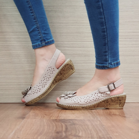 Sandale Dama Piele Naturala Bej Natasha D024421