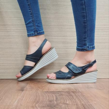 Sandale Dama Piele Naturala Bleumarin July D024431
