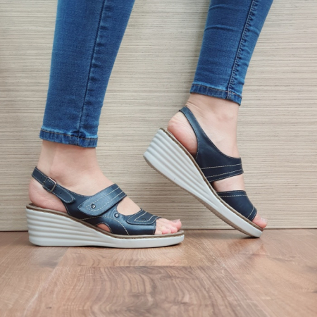 Sandale Dama Piele Naturala Bleumarin July D024430