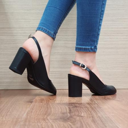 Sandale Dama Piele Naturala Guban Negre Ambrosia D016673