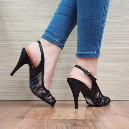 Sandale Dama Piele Naturala Guban Negre Scarlett D024003