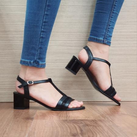 Sandale Dama Piele Naturala Moda Prosper Negre Aura D024370