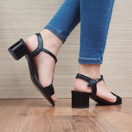 Sandale Dama Piele Naturala Moda Prosper Negre Aura D024373