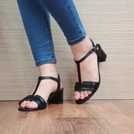 Sandale Dama Piele Naturala Moda Prosper Negre Aura D024372