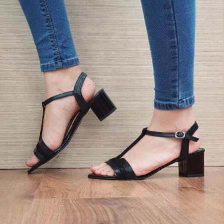 Sandale Dama Piele Naturala Moda Prosper Negre Aura D024371