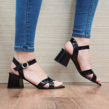 Sandale Dama Piele Naturala Moda Prosper Negre Celine D024040