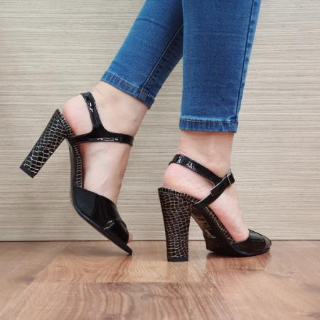 Sandale Dama Piele Naturala Negre Ozana D024253