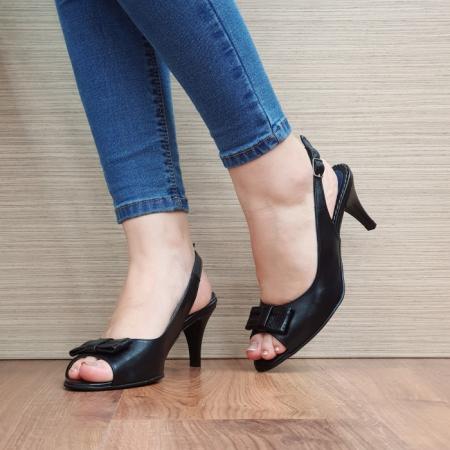 Sandale Dama Piele Naturala Negre Virana D024272