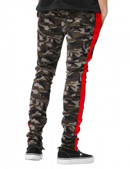 Pantaloni Bărbătești LAZO CAMOUFLAGE TRACK PANTS, Red 2