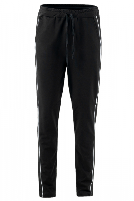 Pantalon dama negru cu dunga verde 0
