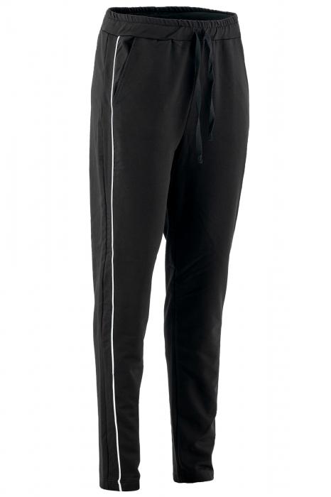 Pantalon dama negru cu dunga verde 1