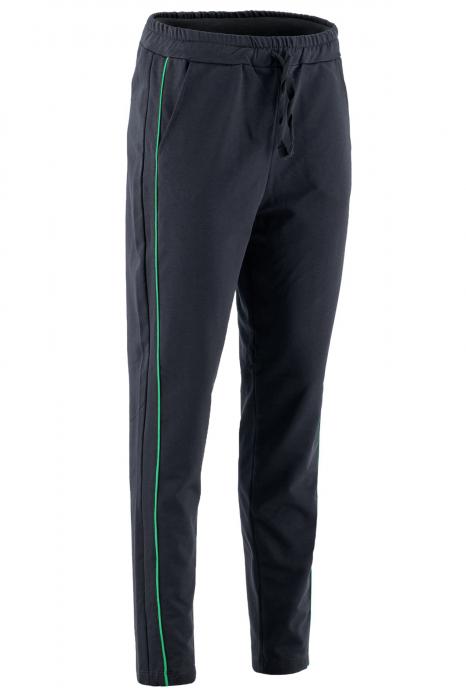 Pantaloni damă, LAZO LINE, Negru cu verde 0