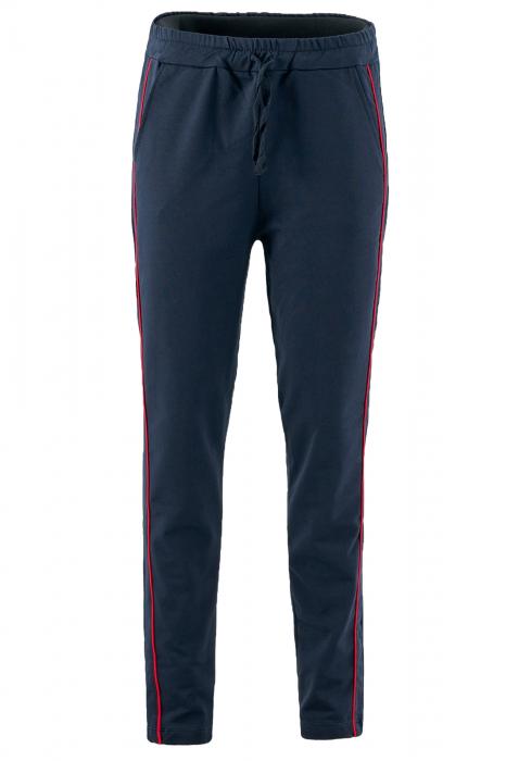 Pantaloni damă, LAZO LINE, Bleumarin cu rosu 1