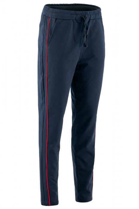 Pantaloni damă, LAZO LINE, Bleumarin cu rosu 0