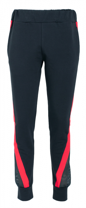 Pantalon dama negru cu dunga rosie 1