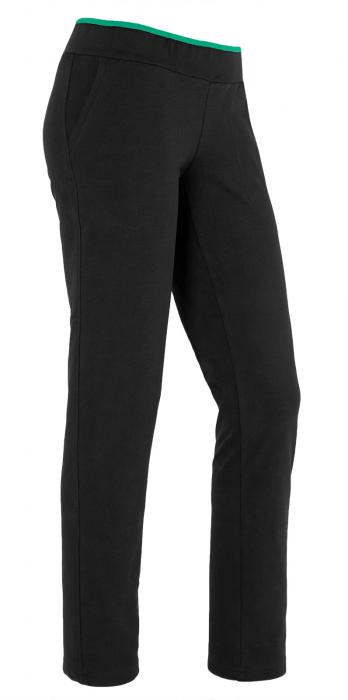 Pantalon dama negru cu verde 2