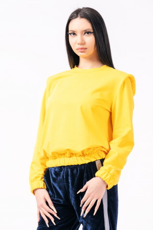 Bluză cu pernițe la umeri, galbena0