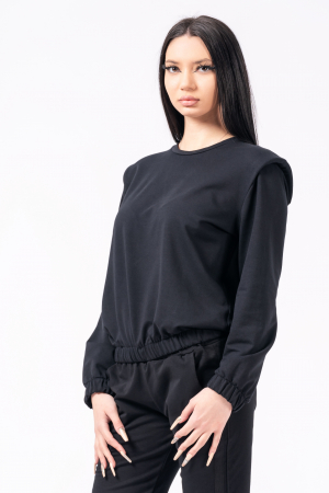 Bluză cu pernițe la umeri, neagra0