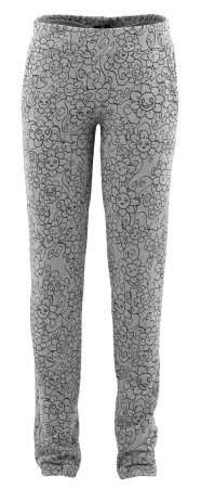 Pantalon Dama LAZO Gri cu imprimeu negru0