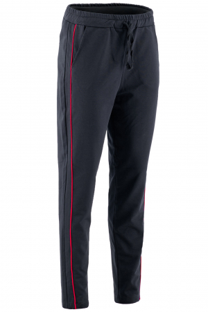 Pantaloni damă, LAZO LINE, Negru cu rosu0